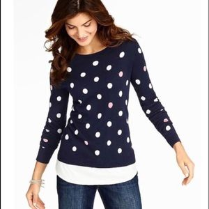 Talbots polka dot layered sweater